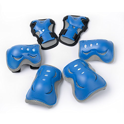 Knee pads for Kids/Children for Outdoor & Indoor Multi Sports Safety, Protective Gear Pads, Pads Set for Boys/Girls/Children's Ice/Roller Skating/Skateboard/Scooter -2 Elbow Pads+2 Wrist Pads+2 Knee Pads(Blue/Orange/Black) (Blue)