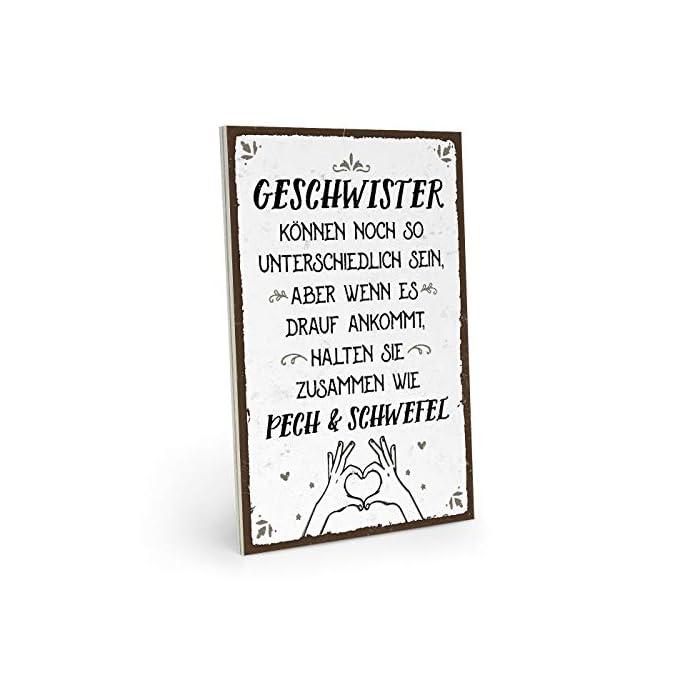ARTFAVES Holzschild mit Spruch - Geschwister HALTEN ZUSAMMEN - Vintage Shabby Deko-Wandbild/Türschild