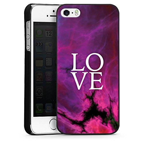 Apple iPhone 4s Housse Étui Silicone Coque Protection Amour Rose vif Motif lilas CasDur noir