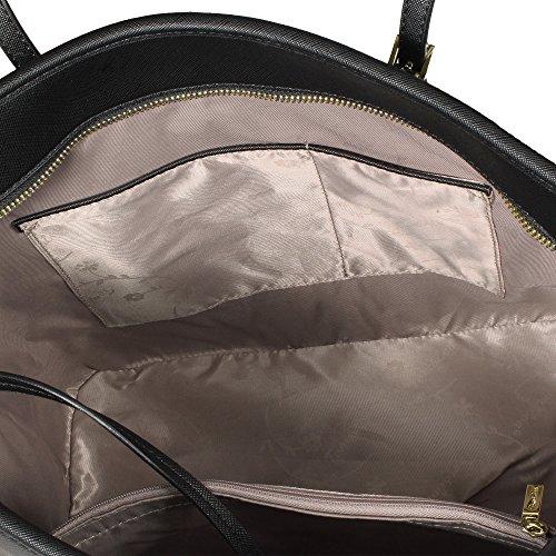 Tom & Eva Damen Handtasche 6228F TE-Jet Set Travel Bag Tasche Braun Schwarz (gold- farbige Details)