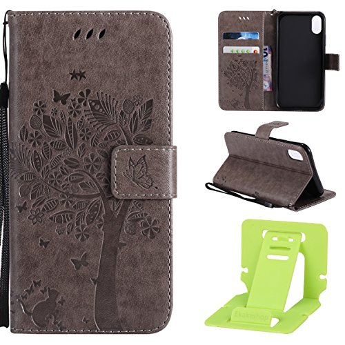 Coque iPhone X en Cuir,iPhone X Housse de Protection,Ekakashop Jolie Papillon Brun Dessin Rabat de Type Flip Cover / Smart Case Fermeture Magnetique Portefeuille Wallet Shell de Protection étui Couver Chats et Arbre Gris