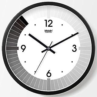 bcagfkasf Wohnzimmer Uhr Wanduhr Schwarz und weiß Moderne Mode Uhr Stumm Kunst kreative Uhr einfache Quarzuhr @ 14 Zoll (35,5 cm Durchmesser) _Metal Normal Edition - Schwarz - 135