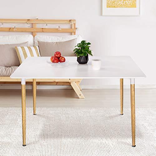 VADIM Rechteckig Esszimmertisch Küchentisch Esstisch Weiß Modern, Couchtisch Büro konferenztisch, Kaffee Tee Büro Küche Esstisch, Freizeit, Holz mit MDF-Lackplatte, 120x80x74 cm