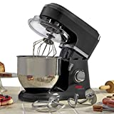 Cooks Professional 800W Electric Kitchen Stand Food Mixer with 5 Litre Stainless Steel Bowl. Three accessories, Two Year Guarantee (Black)