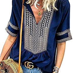 Blusa Mujer Boho V Cuello 4 Mode con 3 Chic Manga Estilo Top Camisas Verano Vintage Moda Casual Casual Viento Nacional Camiseta Tops Mujeres (Color : Dunkelblau, Size : L)