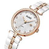 BUREI Elegante Damen Quartz Armbanduhr mit Keramikarmband und Diamantgehäuse Datum Kalender