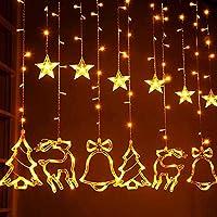 Christmas lights Window Curtain String Lights, 8 Flashing Modes, 6 Star, 2 Christmas Tree, 2 Small Bell and 2 Christmas Deer Light For Christmas Home Decorations, Wedding, Patio Lawn