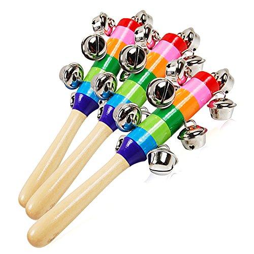 houzhi - Tazas de madera de liang, mancuernas para bebés, juguetes educativos tempranos, juegos de Navidad, redondas, para chupar a mano, campana de instrumentos musicales para bebés y niños pequeños, 1 pieza