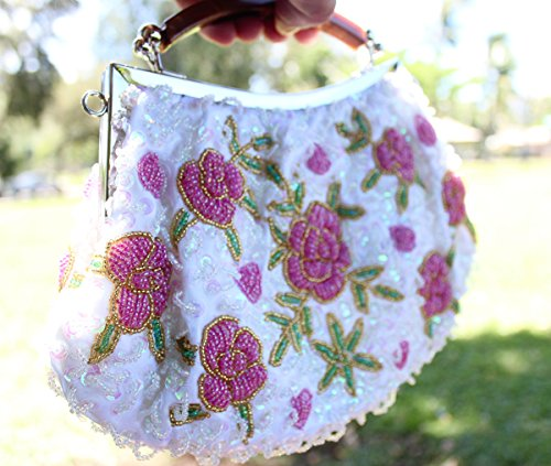Bmc Ladies Minuscole Perle Tempestate Di Pochette Rosa Con Motivo Floreale Fiore Bianco Perla