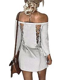 bceab0941b Vestidos de Fiesta Mujer Cortos Sexy Mosstars Vestido Camisero Rayas Mujer  Vestido Ajustado Cuello Slash Vestido