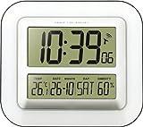 Technoline WS8006 Horloge Murale Radio- Pilotée Calendrier affichage de la température (Blanc avec batteries)