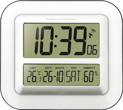 Technoline Jumbo-Funk-Wanduhr WS 8006 Kalender Temperaturanzeige (Weiß mit Batterien)