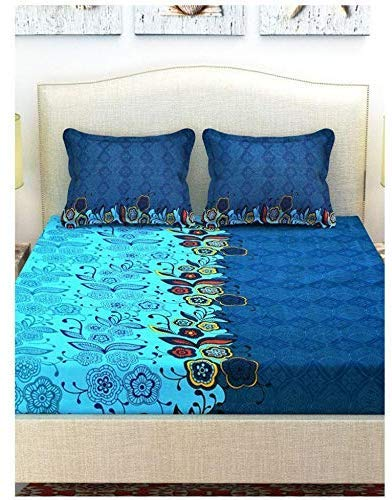 TRUE QUALITY (Double Bed-Sheet) Thread 180. Bed-Sheet with 2 Pillow Covers Made of Poly-Cotton Fabric with 3D Print Microsoft Design and Softest Bed Sheets (Multi Color) Pack of 1