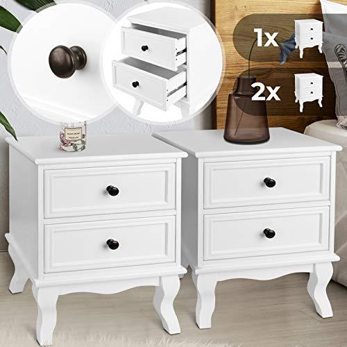 Nachttisch aus robuster MDF-Platte und Holz   49x34,5x30cm, Weiß, mit zwei Schubladen, einzeln oder 2er-Set   Nachtschrank, Kommode Ablagetisch