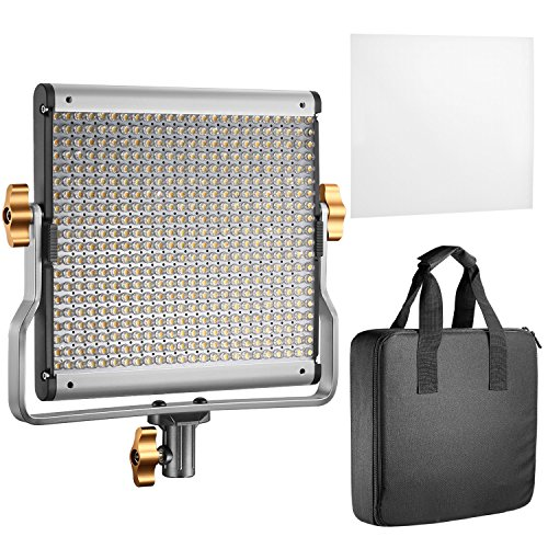 Neewer LED Video Light Bi-colore Regolabile con Staffa U Kit per Studio, Ripresa Video YouTube, 480 LED Lampadine, 3200-5600K, CRI 96+ (Spina EU)