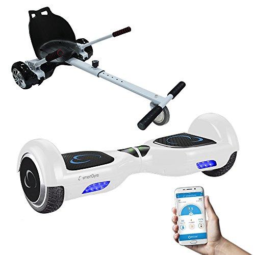 SmartGyro X2 UL+ GO KART PACK WHITE - Patín eléctrico X2 UL ( Hoverboard 6'5' con Ruedas Run-Flat) y Accesorio Go Kart Pro (Sillin adaptable), color blanco