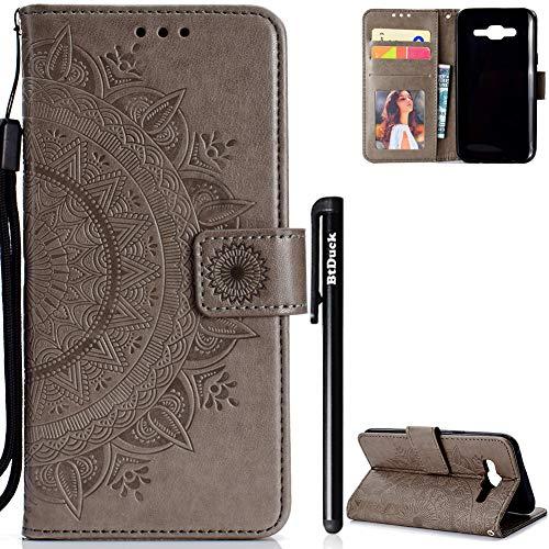 Galaxy J5 2015 Hülle,BtDuck Hülle Mandala Blume Mädchen Brieftasche Slim Hülle Leder Magnet Flip Case Damen Geldbörse Cover Weich Silikon Back Case Handyhülle Kompatibel mit Samsung J5 2015 Grau