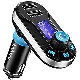 Anbero Bluetooth KFZ Auto FM-Transmitter Radio-Adapter MP3-Player (mit 3,5mm-Aux-Eingang und zwei USB-Ports Lade&Micro-SD-Kartenslot)