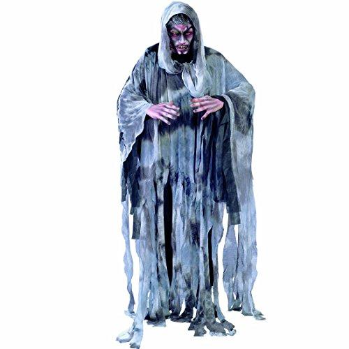 Geist Halloween Sensenmann Kostüm - Amakando Halloweenkostüm Geist Geisterkostüm L 52/54 Geisterumhang mit Kapuze Zombie Kostüm Tod Gewandung Halloween Karnevalskostüm Sensenmann