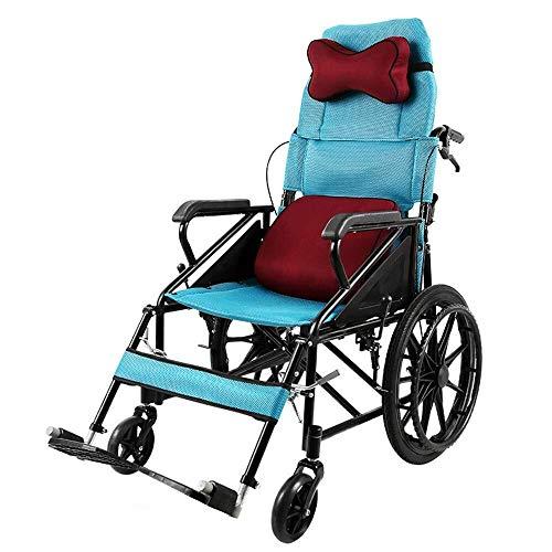 Bariatric Faltbare Rollstuhl (AIWO-LPT Tragbarer Faltrollstuhl for Behinderung der unteren Extremitäten/Lähmung/Stürze/Fraktur Wagen kann den Rollstuhl selbst bremsen)
