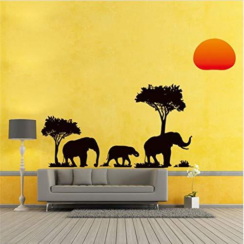 Baum Elefanten Sonnenaufgang Wand Aufkleber Wohnzimmer Dekor Safari Diy Startseite Decals Tiere Pflanze Wandbild Kunst Peel & Stick (Wohnzimmer Für Safari-dekor)