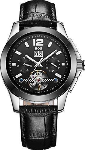 Angela bos mecánico automático para hombre triple-link Reloj Esfera de color negro banda de novilla Calendario 9001