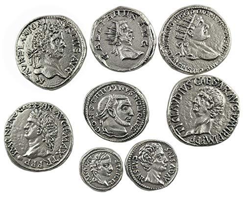 Eurofusioni Römische antike Münzen - Versilbertes Metall - Set 8 Stück