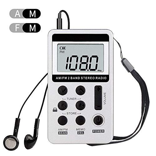 Digitales Pocket Radio Tragbare Radio Mini AM FM Taschenradio 2 Band Stereo Radio DSP Digital Tuning Receiver Kopfhörer Wiederaufladbares Batterie mit Kopfhörer Ideal für Walking