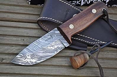 Perkin Couteau de survie fait main Acier damassé
