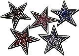 Iron on Bügel Glitzer Sterne Aufnäher Patches Bügelbilder Aufbügler Applikation Strass Glitzer Sterne zum aufbügeln