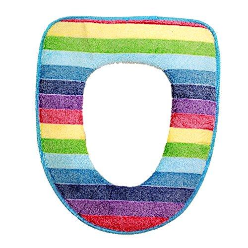 WC-Sitz, ruirs Schöne waschbar Badezimmer Multicolor Streifen und Reißverschluss Design WC-Sitz Bezug Closestool Sitz Kissen Plüsch Pad für Winter