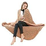 OVERDOSE Hand Chunky Strickdecke Decke Garn Wolle Bulky Knitting Throw Blanket Decke (120*150cm, F-Beige)