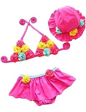 Costumi Da Bagno Tre Pezzi Gonna Cappello Top Coordinati Bikini Spiaggia Mare Bambino Ragazze / Pink 70