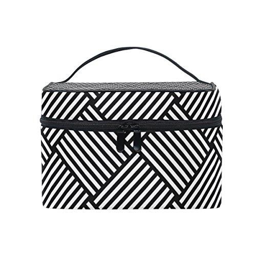 ALAZA Sac cosmétique noir vichy à carreaux Stripe Maquillage Voyage cas de stockage organisateur