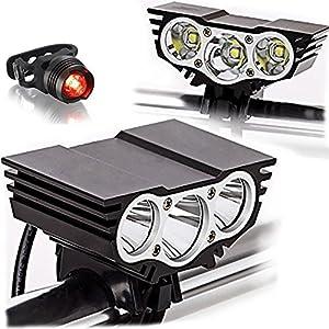 51smIikgCoL. SS300 Tobole - Torcia / faretto / luce frontale per bicicletta, con luci a LED, 5luci CREE, 8000lumen di luminosità, mod. XM-L T6, 1300mAh, con caricabatterie, Nero 3