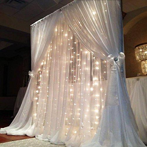 LCLrute 3Mx3M 304LED Fenster Vorhang Lichter String Fairy Lampe Hochzeit Party Decor (Weiß) (Vorhänge Print-panel)