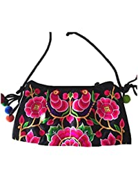 Rose Flower : Messenger Bag - TOOGOO(R) Embroidered Bags Handmade Fabric Embroidery One Shoulder Cross-body Women...