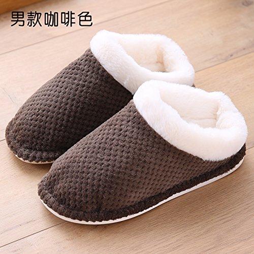 Inverno fankou paio di pantofole di cotone inferiore spesso pattini di slittamento home caldo gli uomini onorevoli pavimento in legno home inverno pantofole di cotone Schwarz