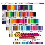 100 Farben Doppel Spitze Pinselstifte mit Fineliner Art Marker, Feela Aquarell Doppel Pinselspitze und Textmarker für Erwachsene zum Malbücher, Kunst, Skizzieren, Kalligraphie, Manga, Bullet Journal