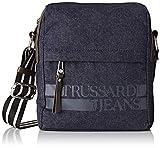 Trussardi Jeans Turati Reporter Denim, Borsa Messenger Uomo, Multicolore (Dark Blue/Brown) 19x22,5x8 cm (W x H x L)