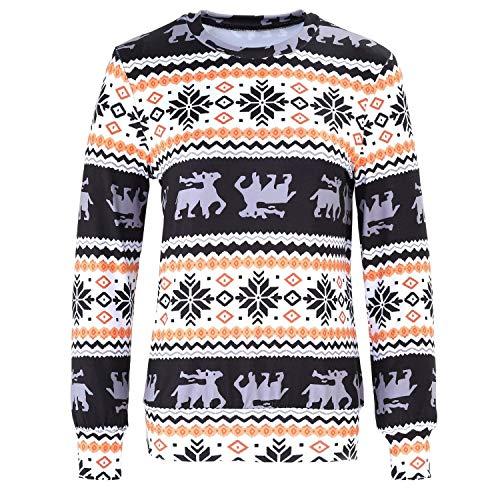 (Festival Weihnachten Fair Isle Ethnisch Barock Stammes Aztekisch Langarm Sweatshirt T Party Stil Shirt Oberteil Top Mädchen (Color : 605, Size : XL))