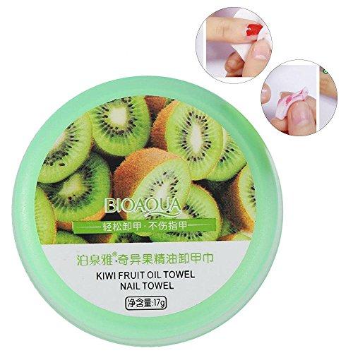 32pcs tampons de dissolvant de vernis à ongles, huile essentielle de plante naturelle nourrissante nettoyage nettoyant polonais lingettes tampons(kiwi)