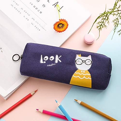 1Bleistiftbeutel Niedliche Einfache Kreative Katze Leinwand Studentin Große Kapazität Reißverschluss - Niedliche Doppel Kostüm