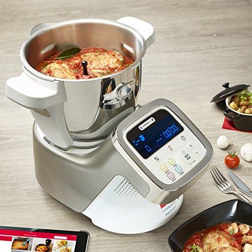 Moulinex i-Companion HF900110 - Robot de cocina Bluetooth 13 programas y 6 accesorios capacidad 6 personas, incluye cuchilla picadora, batidor, mezclador, amasador, triturador y cesta de vapor
