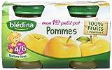 Blédina ComPote Bébé Pots Fruits Mon 1er Petit Pot Pommes dès 4/6 mois 130 g x 2 - Lot de 6