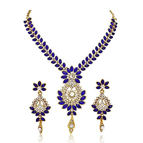 Atasi International Gold-Plated Blue Strand Necklace Set For Women