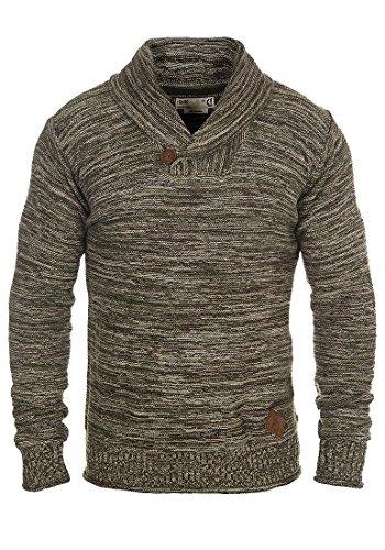 SOLID Herren Miles Shawl Pullover Strickpullover Grobstrick mit Schalkragen aus 100% Baumwolle Meliert, Größe:L, Farbe:Duffel Bag Green (3590)