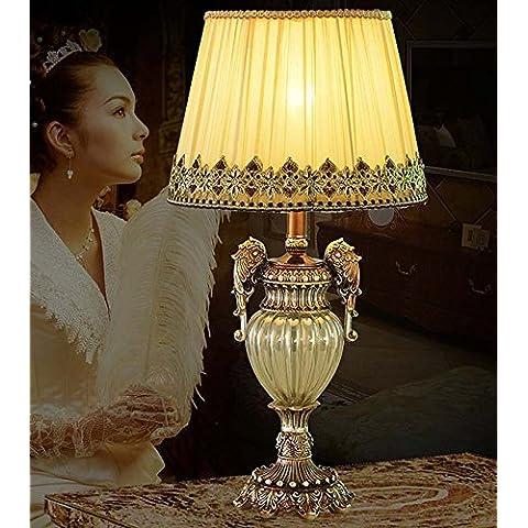 YM@YG Letto in stile lampada vetro cristallo tessuto soggiorno camera da letto lampada da tavolo