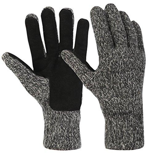Novawo Warme Gestrickte Vollfingerhandschuhe mit Samtfutter für Den Winter