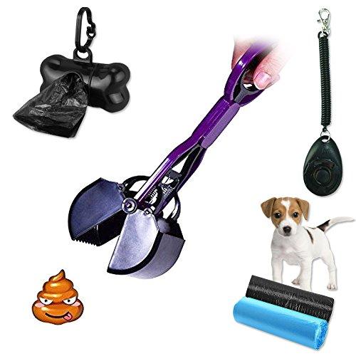 MG MULGORE Hund Pooper Scoopers Haustier Scooper Easy Clean Pickup Abfall 28cm Kleine Größe Grabber Picker mit Hund Clicker Poop Bag Halter und 30 Abfall Taschen für kleine Hunde (lila)